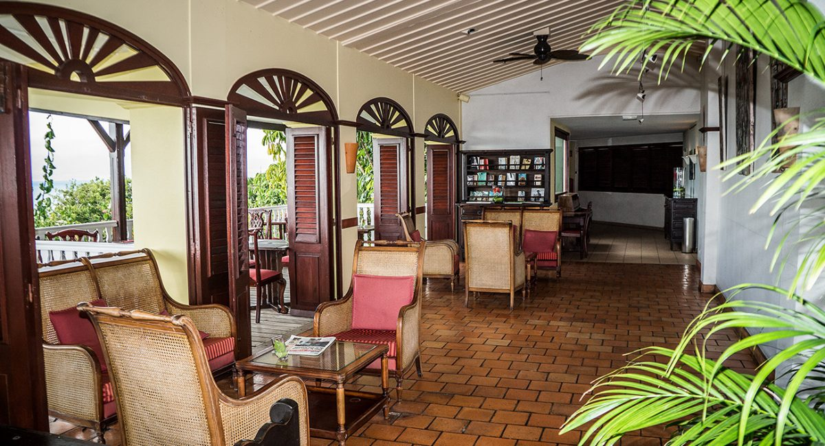 Lobby of 4 Stars Hotel Auberge de la Vieille Tour located in Guadeloupe at Le Gosier